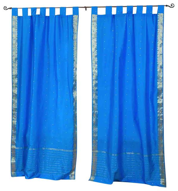 Blue sheer curtain panels