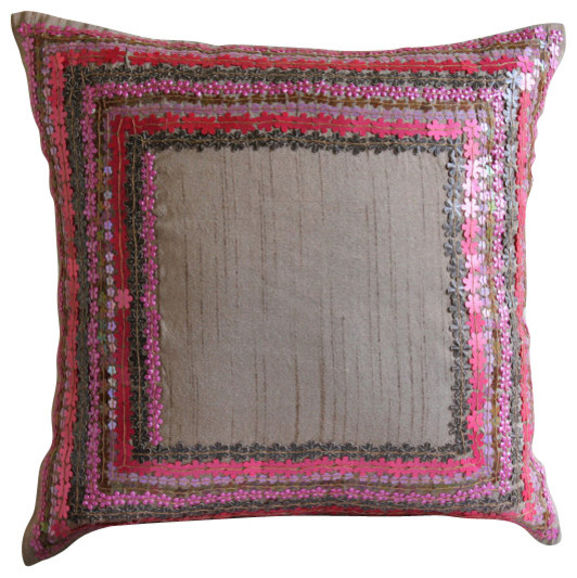 Pink Silk Throw Pillows : Pretty Pink Flowers Pink Silk Throw Pillow Cover, 16x16 contemporary-scatter-cushions