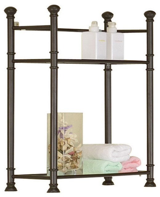 """Sleek Style Metal 26"""" Wall Mount Shelf With Tempered Glass, 3422, Bronze - Traditional ..."""