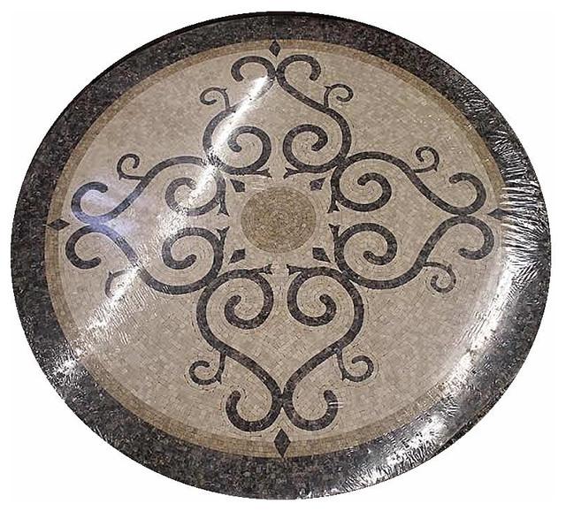 Stone Medallion Inlays : Mosaic honed floor medallions tile medallion marble inlay