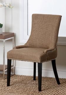 Abbyson Living Newport Gold Fabric Nailhead Trim Dining Chair Contemporary
