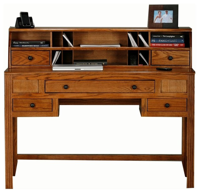Oak Ridge Writing Desk W Hutch Dark Oak Desks And