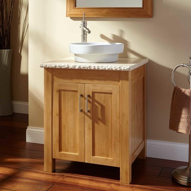 24 bashe bamboo vessel sink vanity modern bathroom for Modern bamboo bathroom vanity