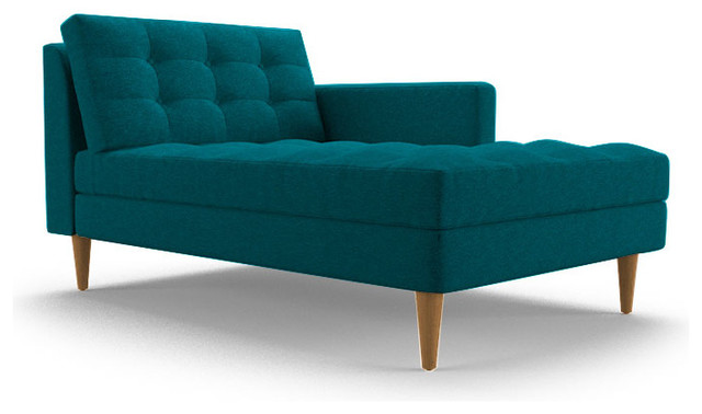 Eliot single arm chaise lucky turquoise blue for Blue chaise lounge indoor