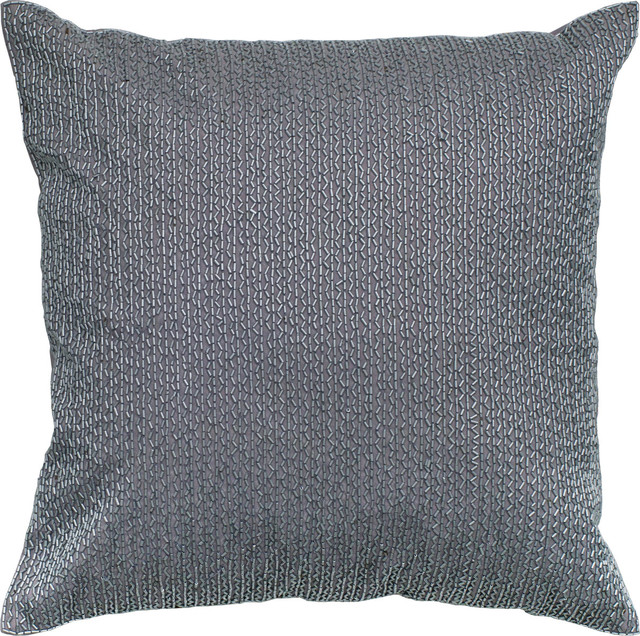 Beaded Pillow, Silver, 18