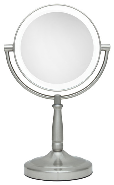 Zadro Led Lighted 1X 10X Portable Round Vanity Mirror In