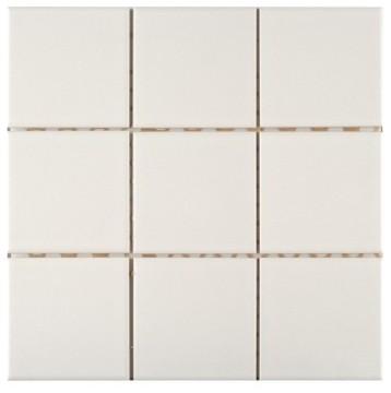 Mosaikfliesen 9016 gl nzend 9 7x9 7cm for 7x9 bathroom design