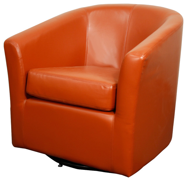 Hayden Swivel Bonded Leather Chair Pumpkin Transitional Armchairs And Ac