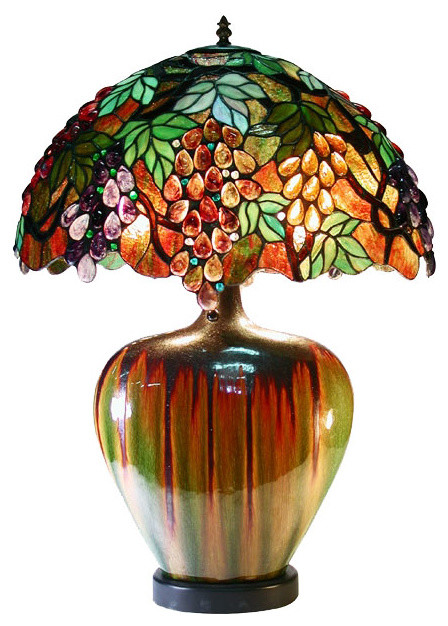 Tiffany style grape lamp with ceramic base contemporary for Tiffany style vase floor lamp