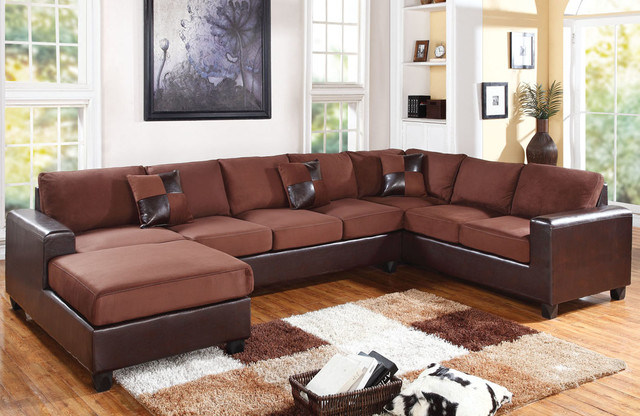 acme chocolate microfiber leather sectional sofa reversible chaise u contemporary corner sofas los angeles