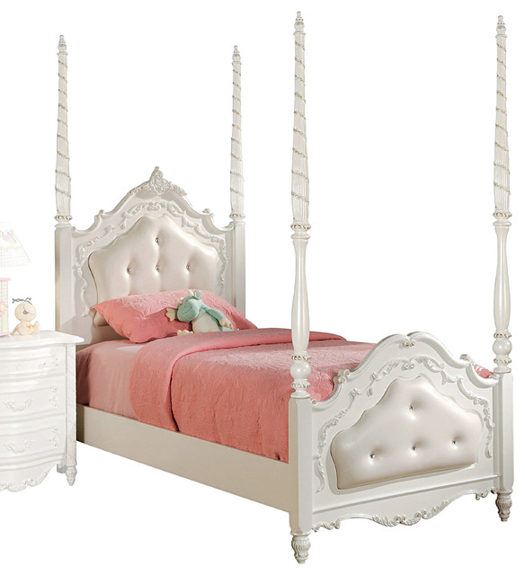 Pearl Twin Poster Bed With Tufted Design Pearl White Canopy Beds