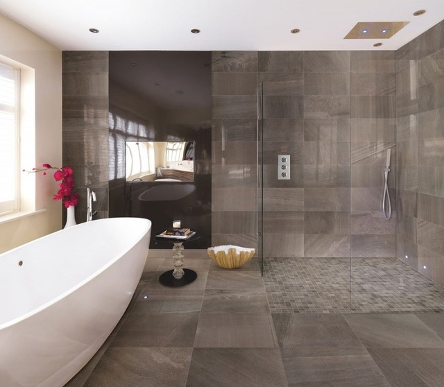 Moderno timeless charcoal 12 x24 for 8x4 bathroom design