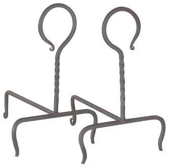 Black Wrought Iron Heart Andirons - Traditional ...