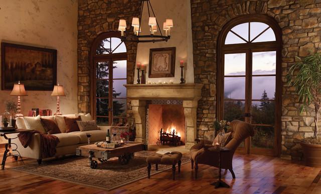 The palacio fireplace surround rustic indoor - Chimeneas rusticas de ladrillo ...