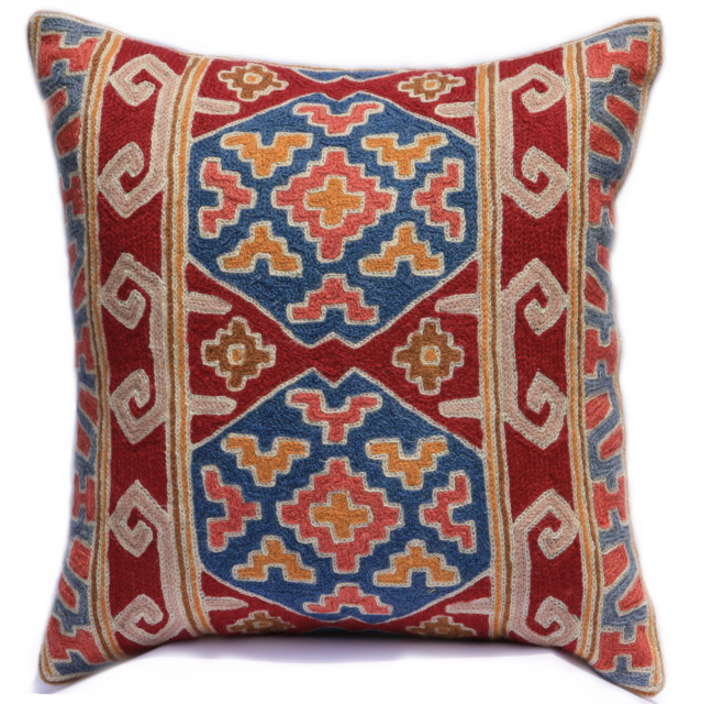 Scandinavian Design Throw Pillows : Red Blue Suzani Bohamian Pattern Throw Pillow Cover - Scandinavian - Decorative Cushions ...
