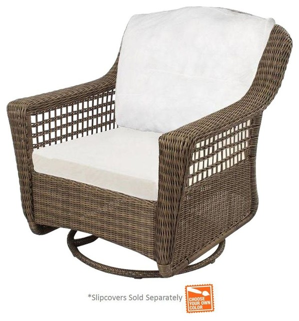 Hampton Bay Chairs Spring Haven Grey All Weather Wicker Patio Swivel Rocker Contemporary