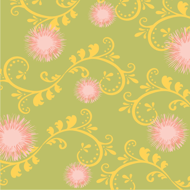 Dandelions Pastel Pink Green Yellow Wall Mural Contemporary Wallpaper By Murals Your Way