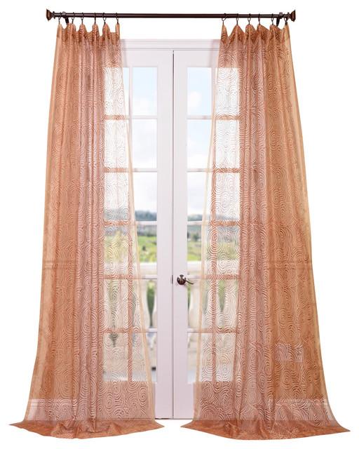 Copper Curtain Wall : Esparanza copper embroidered sheer curtain contemporary