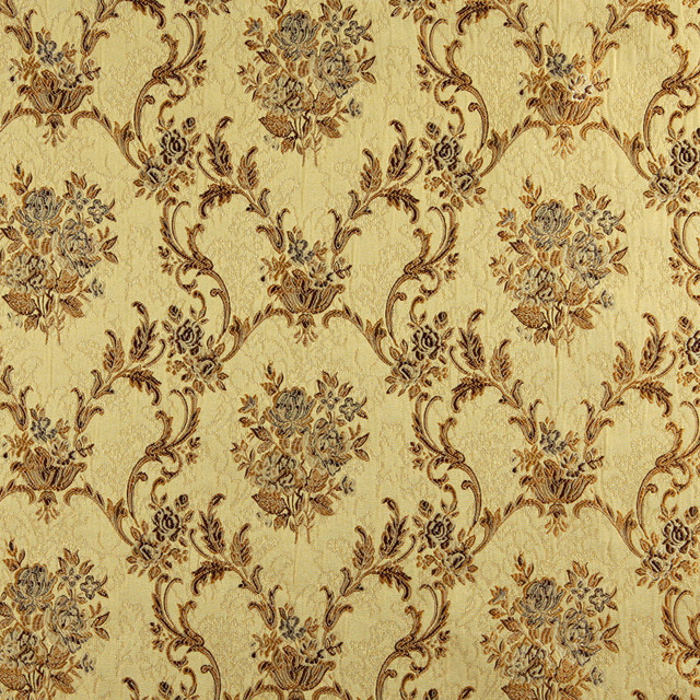 Gold brown and ivory embroidered floral brocade upholstery