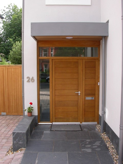 contemporary scandinavian style timber front door with