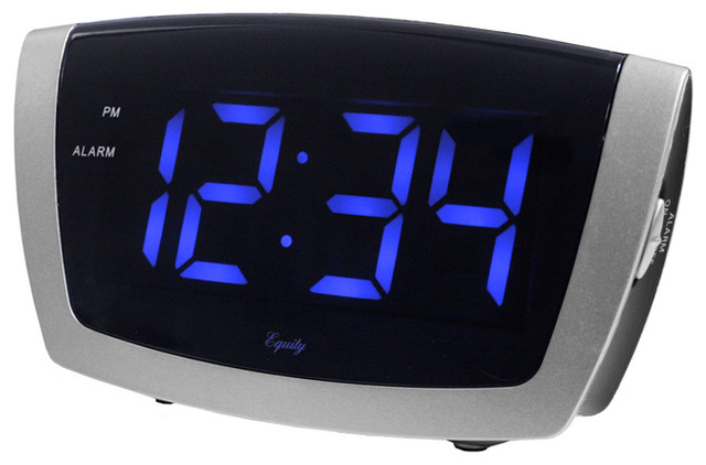 Large Blue Led Alarm Clock With Usb Port Contemporary