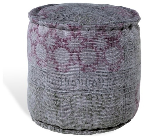 Carys Pouf - Red, Gray - Southwestern - Floor Pillows And Poufs - by Urban Colony