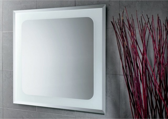 Square Mirror with Sandblasted Frame - Contemporary - Bathroom Mirrors