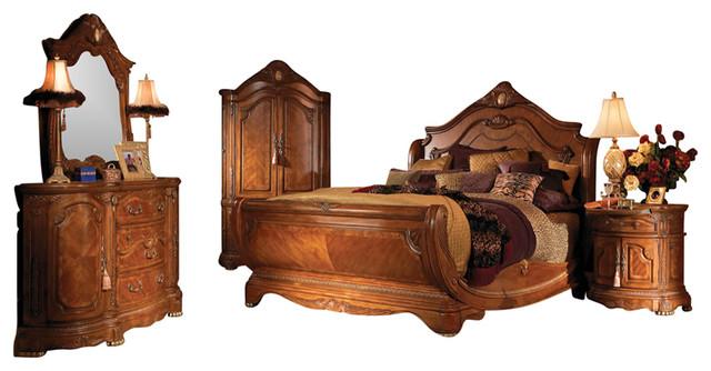 4 Piece Cortina King Size Sleigh Bedroom Set Honey Walnut