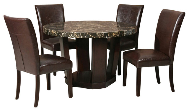 5 piece adolph ii collection espresso finish wood round