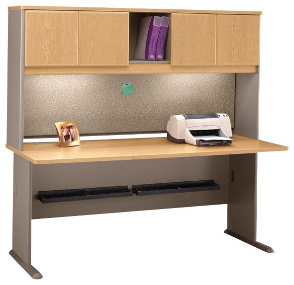 "Bush Series A 72"" Wood Computer Desk with Hutch in Light Oak ..."