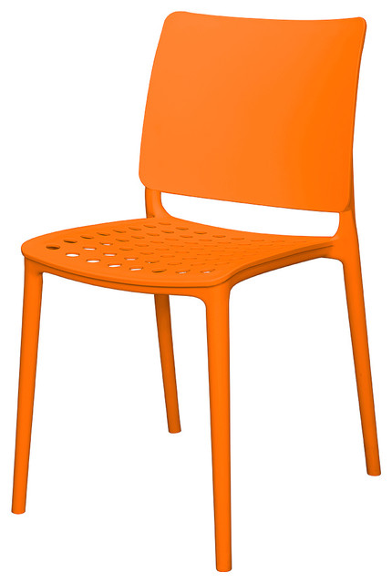 Marcay Side Chair Orange Contemporary Dining Chairs