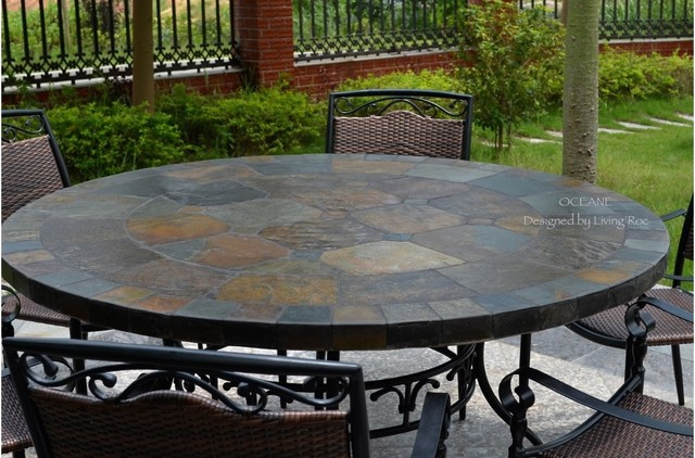"OCEANE 63"" MOSAIC SLATE STONE GARDEN PATIO TABLE"
