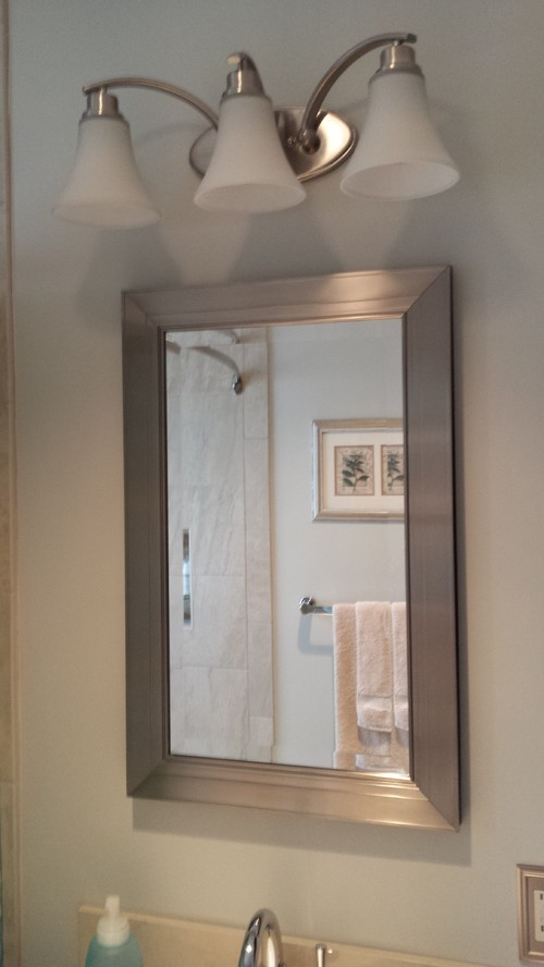 Extend Vanity Light Over Medicine Cabinet : Our 5x8 Bathroom - From Drab to Fab