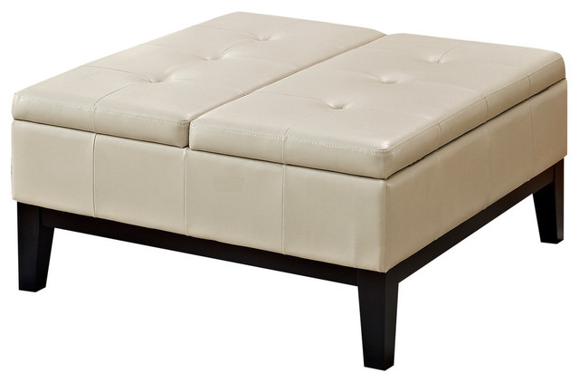 Dover Square Coffee Table Ottoman With Split Lift Up Lid Satin Cream Traditional Footstools