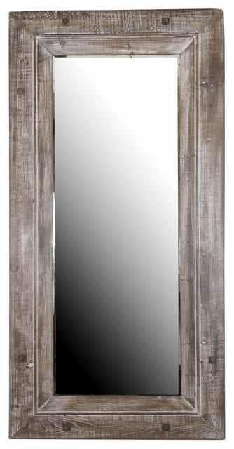 privilege international brown reclaimed wood mirror large