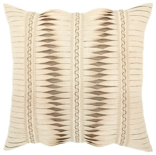 Gladiator Ivory Pillow, 20 x 20 - Contemporary - Outdoor Cushions And Pillows - by Kumquat Garden