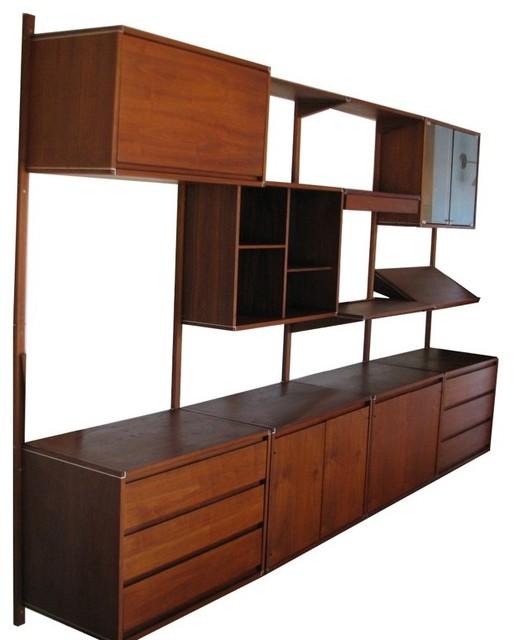 mid century wall units modern storage and organization. Black Bedroom Furniture Sets. Home Design Ideas