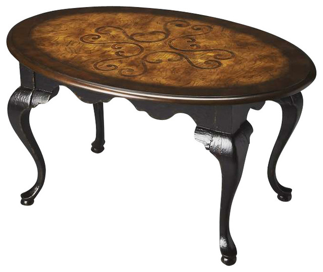 Butler oval cocktail table black and tan traditional coffee tables by shopfreely Butler coffee tables