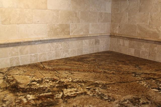 Travertine Stone Backsplash : Tumbled travertine backsplash with granite traditional
