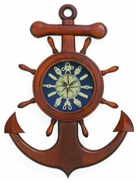 wooden anchor knot wall clock 18 beach style wall clocks by handcrafted nautical decor. Black Bedroom Furniture Sets. Home Design Ideas