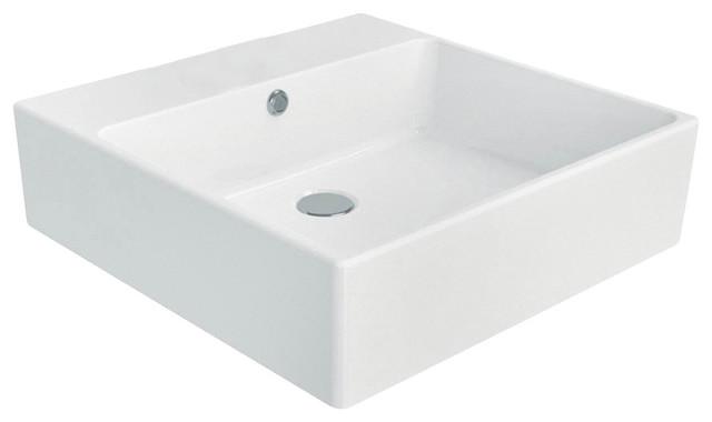 Simple 50A ADA Wall Mounted/Vessel Bathroom Sink in Ceramic White 19.7 ...