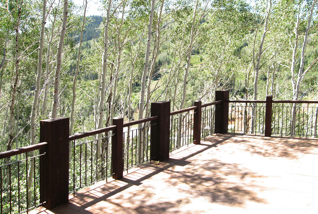 Exterior Log Timber Balustrades Salt Lake City By Titan Stairs U