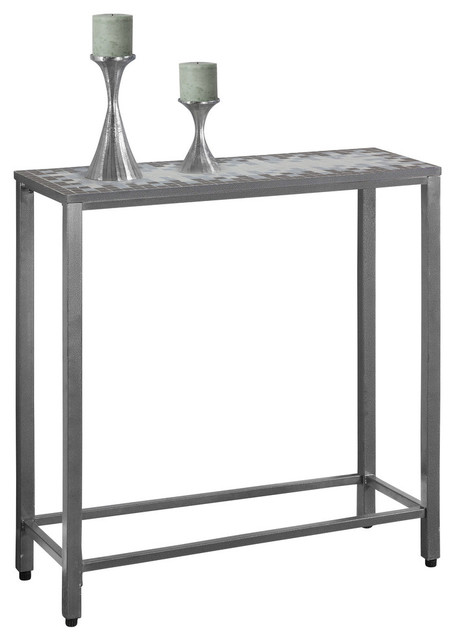 Tiled Console Table ~ Console table gray blue tile top hammered silver