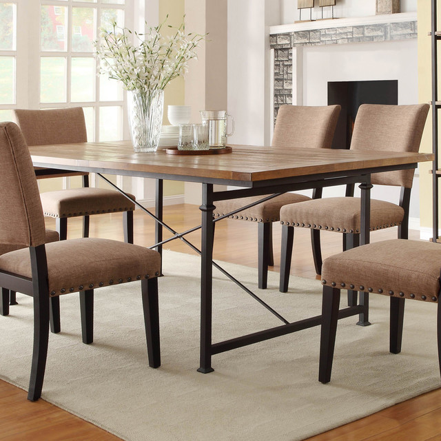 Wrought Iron Wood Dining Table: Homelegance Derry Dining Table W/ Wrought Iron Base