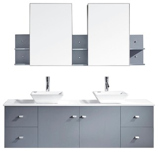 Clarissa 72 Double Bathroom Vanity Cabinet Set In Gray Modern