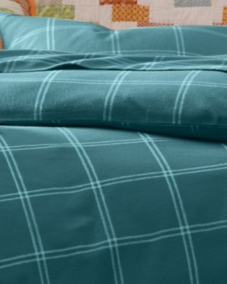 garnet hill paintbrush plaid flannel bedding double fitted turquoise plaid modern. Black Bedroom Furniture Sets. Home Design Ideas