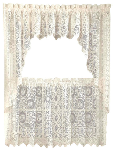 Hopewell lace cream kitchen curtain traditional for Traditional kitchen curtains