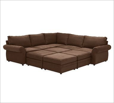 Pearce Upholstered 6 Piece Pit Sectional Brushed Canvas