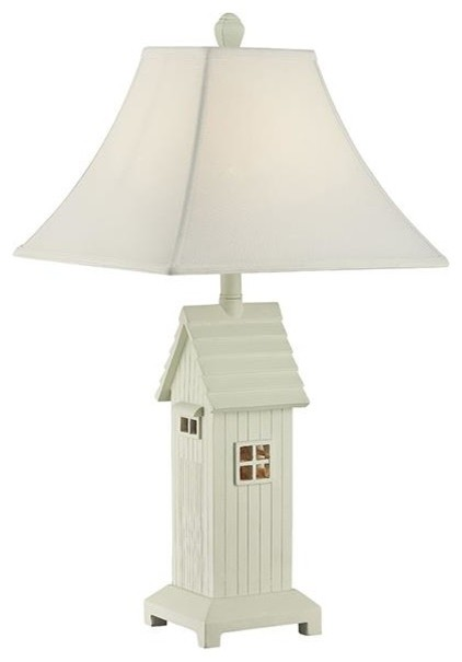 Modern Table Lamp in White Farmhouse Table Lamps by ShopLadder