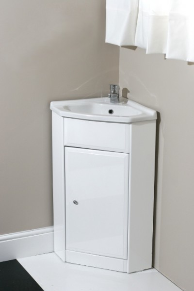 Corner bathroom cabinets white gloss - Corner Vanity Unit With Tap And Waste Contemporary Bathroom Vanity